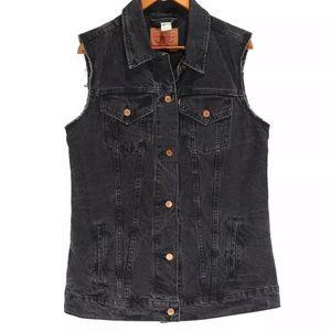 Levi's Women's Black Oversized Long Denim Vest